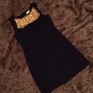 Navy dress with beaded front detailing
